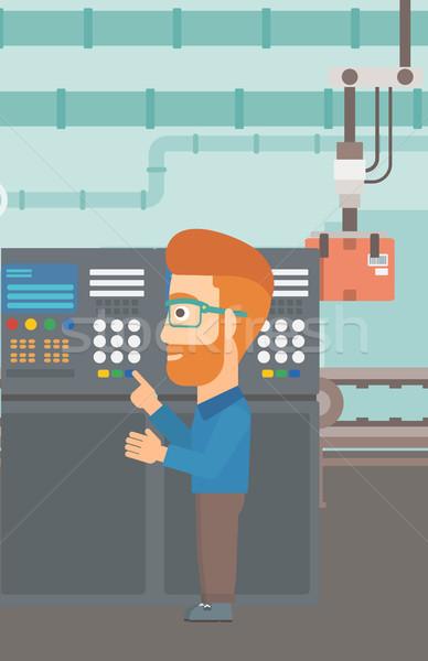 Engenheiro em pé painel de controle homem trabalhando fábrica Foto stock © RAStudio
