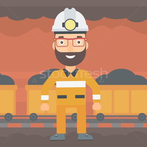 Veiligheidshelm man baard toorts mijnbouw Stockfoto © RAStudio