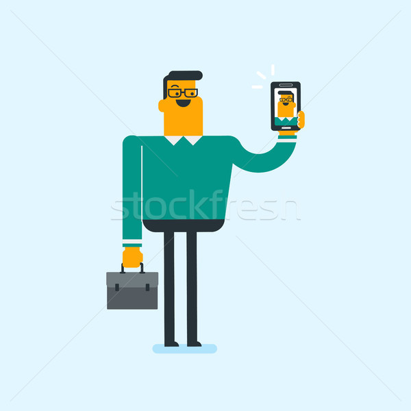 Caucasian white man holding ringing mobile phone Stock photo © RAStudio
