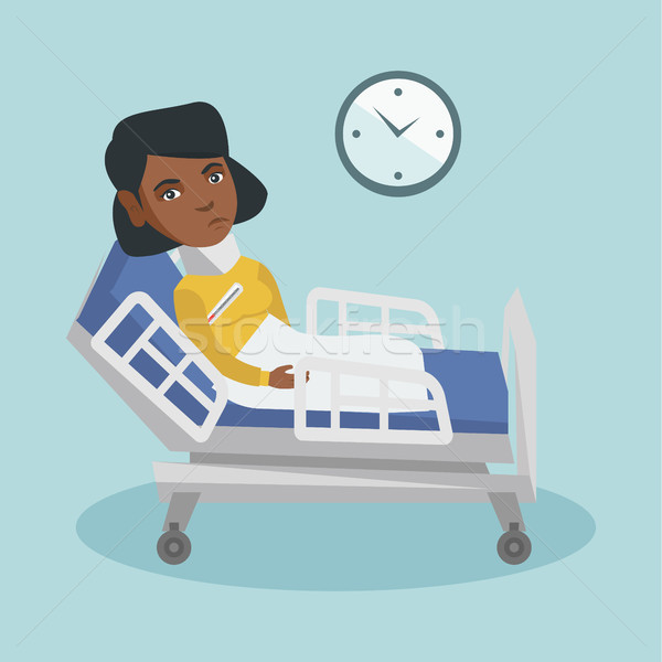 Young african woman sick with fever laying in bed. Stock photo © RAStudio