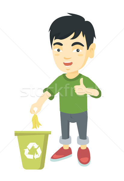 Little boy throwing banana peel in recycling bin. Stock photo © RAStudio