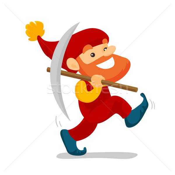 Cute senior dwarf walking with a pickaxe. Stock photo © RAStudio