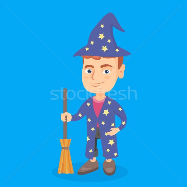 Mały chłopca magik miotła Zdjęcia stock © RAStudio