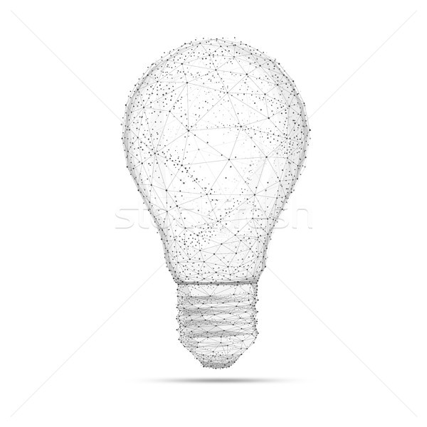 Blockchain polygon idea light bulb isolated on white. Stock photo © RAStudio