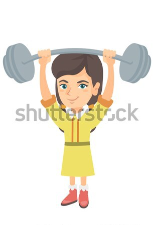 Strong caucasian boy lifting heavy weight barbell. Stock photo © RAStudio