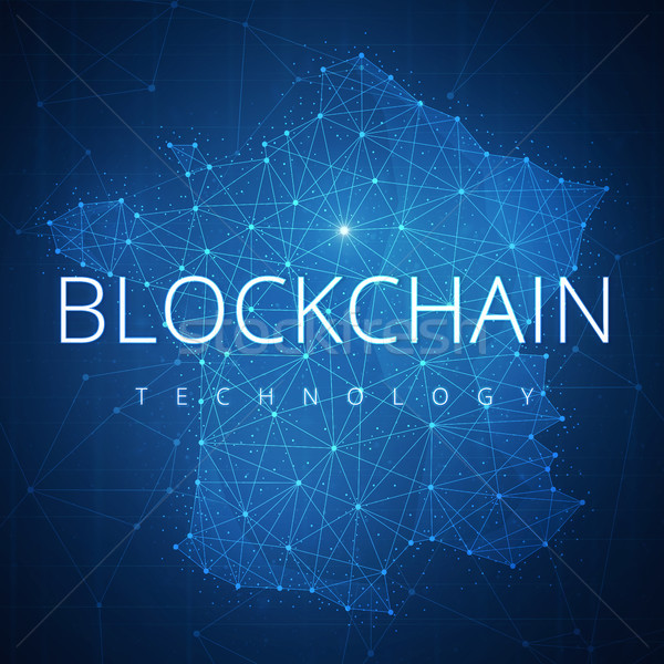 Blockchain technology hud banner with France map. Stock photo © RAStudio