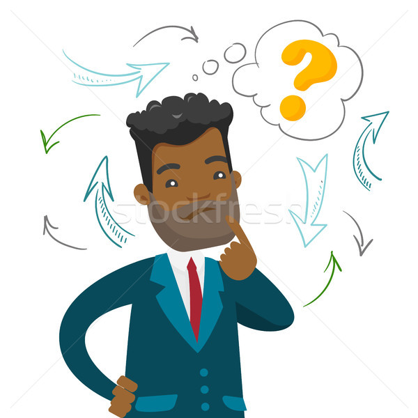 Young confused african business man thinking. Stock photo © RAStudio