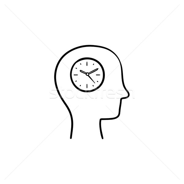 Clock in the head hand drawn sketch icon. Stock photo © RAStudio