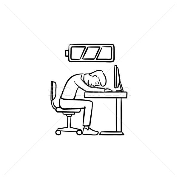 Low battery worker hand drawn sketch icon. Stock photo © RAStudio