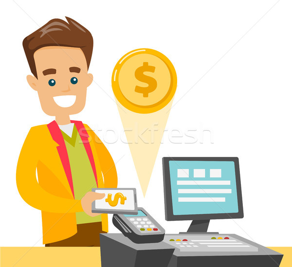 A white man paying at cashbox with his smartphone. Stock photo © RAStudio
