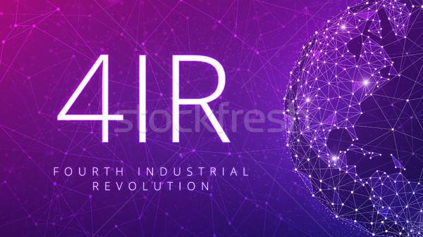 Vierde industriële revolutie veelhoek wereldkaart Stockfoto © RAStudio