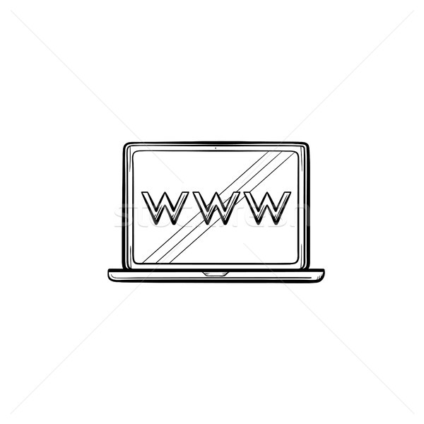 Laptop computer screen with web browser window hand drawn outline doodle icon. Stock photo © RAStudio