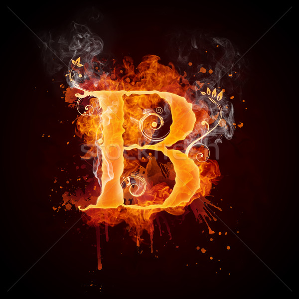 Fire Swirl Letter B stock photo © Andrei Krauchuk ... Letter B Fire