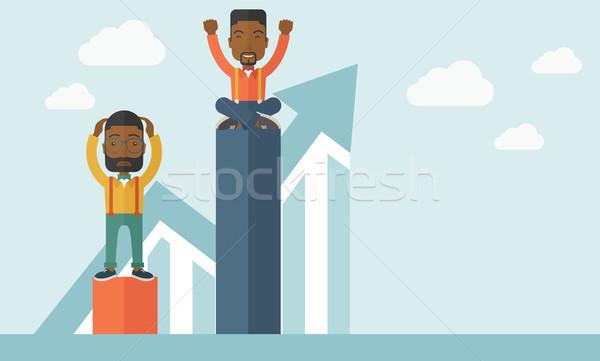 Twee zakenlieden man top gelukkig vergadering Stockfoto © RAStudio