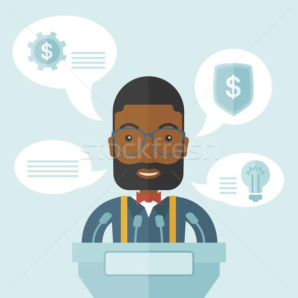 черный оратора стоять за подиум бизнеса Сток-фото © RAStudio