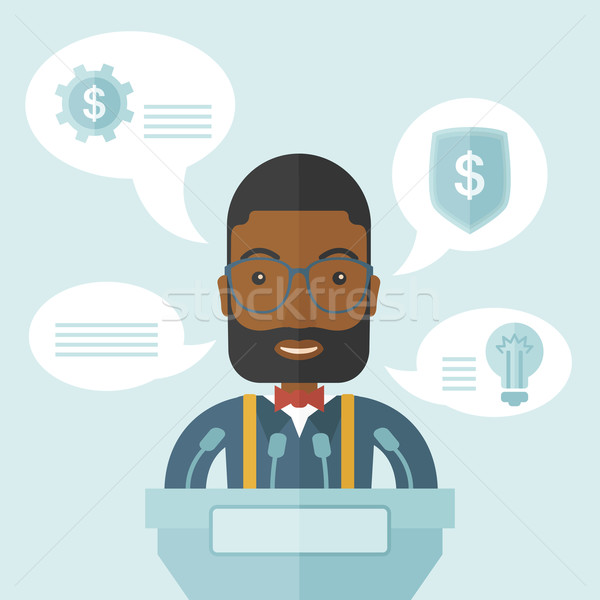 Zwarte spreker stand achter podium business Stockfoto © RAStudio