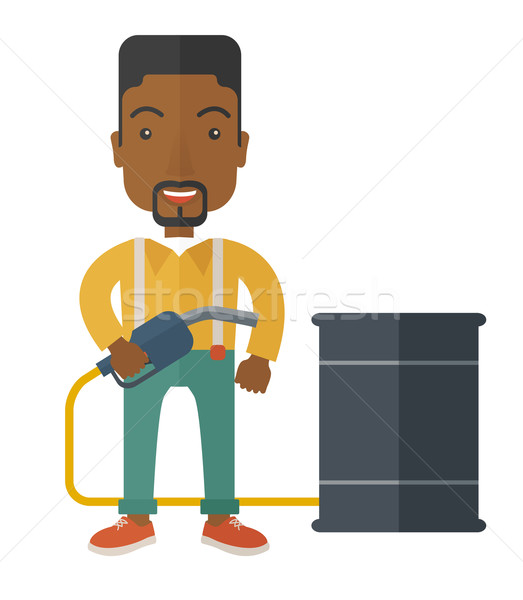 African Businessman with oil can and pump. Stock photo © RAStudio