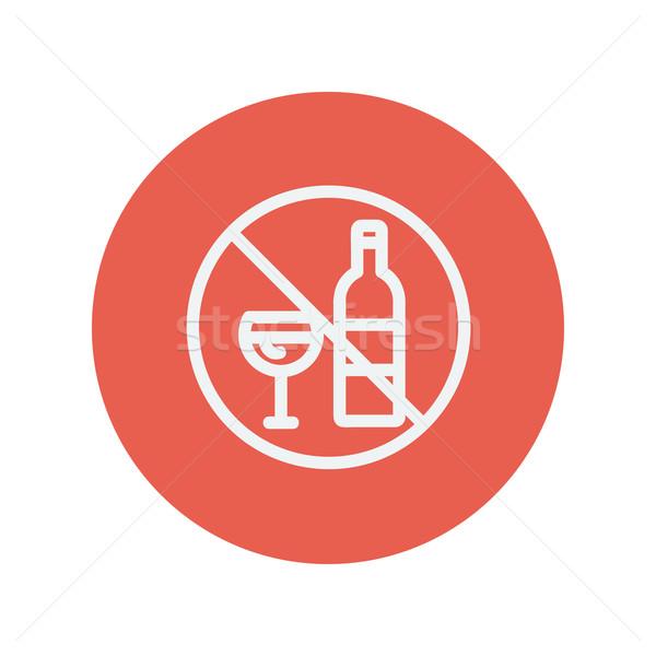 Stock photo: No alcohol sign thin line icon