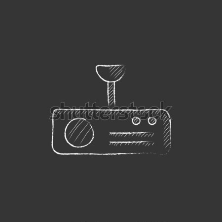 Vintage radio with analog dials and antenna drawn in chalk Stock photo © RAStudio