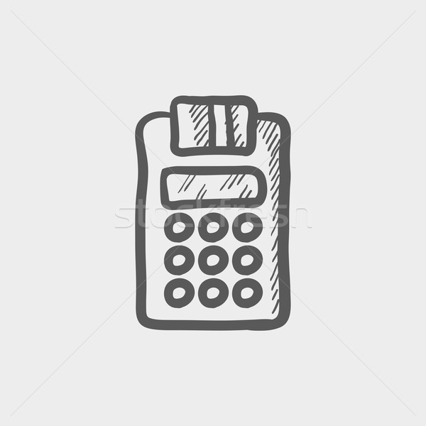 Electronic calculator with paper roll sketch icon Stock photo © RAStudio