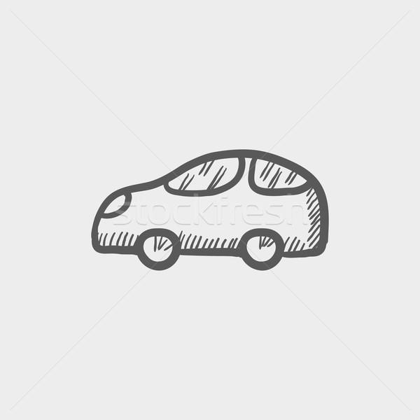 ストックフォト: 車 · スケッチ · アイコン · ウェブ · 携帯 · 手描き