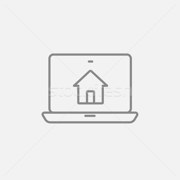 Akıllı ev teknoloji hat ikon web Stok fotoğraf © RAStudio