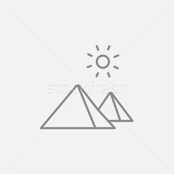Egyptian pyramids line icon. Stock photo © RAStudio