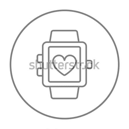 Smartwatch with heart sign line icon. Stock photo © RAStudio