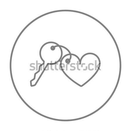 Сток-фото: ключами · сердце · линия · икона · веб