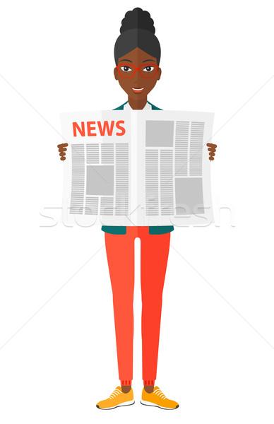Reporter czytania gazety szczęśliwy wektora projektu Zdjęcia stock © RAStudio
