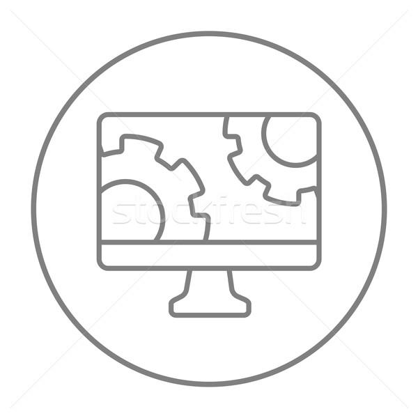 Számítógépmonitor sebességváltó vonal ikon háló mobil Stock fotó © RAStudio