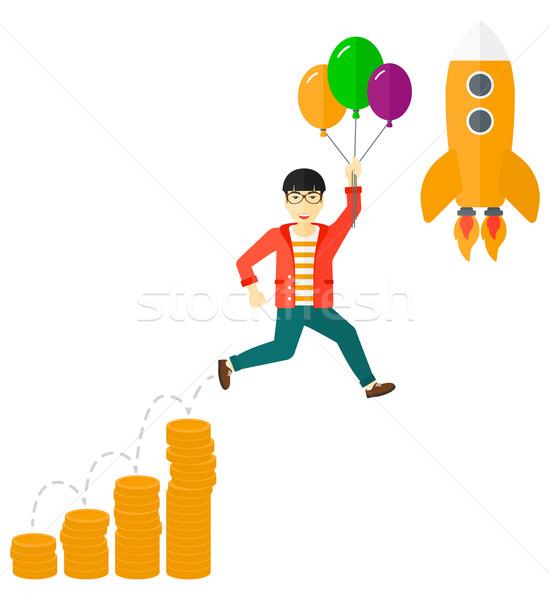 Sikeres üzlet kezdet felfelé ázsiai üzletember Stock fotó © RAStudio