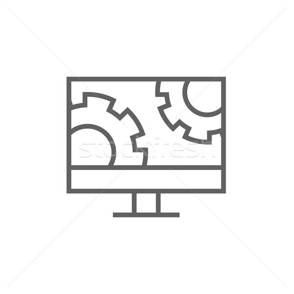 Számítógépmonitor sebességváltó vonal ikon sarkok háló Stock fotó © RAStudio