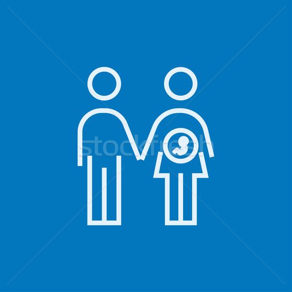 Husband with pregnant wife line icon. Stock photo © RAStudio