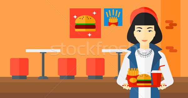 Stockfoto: Vrouw · fast · food · asian · dienblad · vol