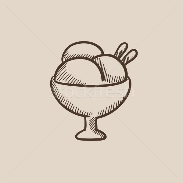 Cup of an ice cream sketch icon. Stock photo © RAStudio