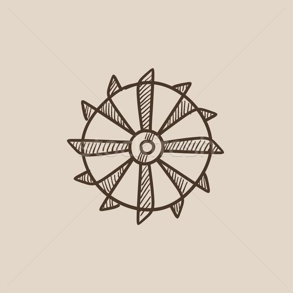 барабан уголь машина эскиз икона Сток-фото © RAStudio