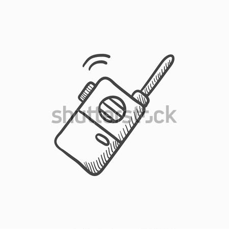 Portatile radio set sketch icona web Foto d'archivio © RAStudio