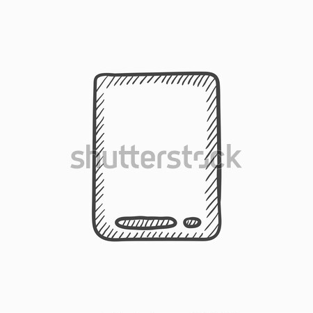 Tela sensível ao toque comprimido esboço ícone teia móvel Foto stock © RAStudio