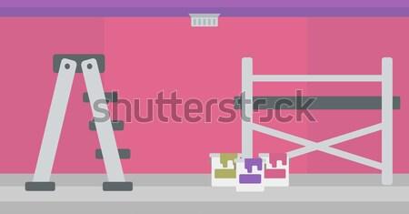стены краской лестнице Purple стен вектора Сток-фото © RAStudio