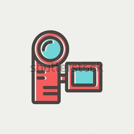 Stock fotó: Digitális · videókamera · vonal · ikon · sarkok · háló