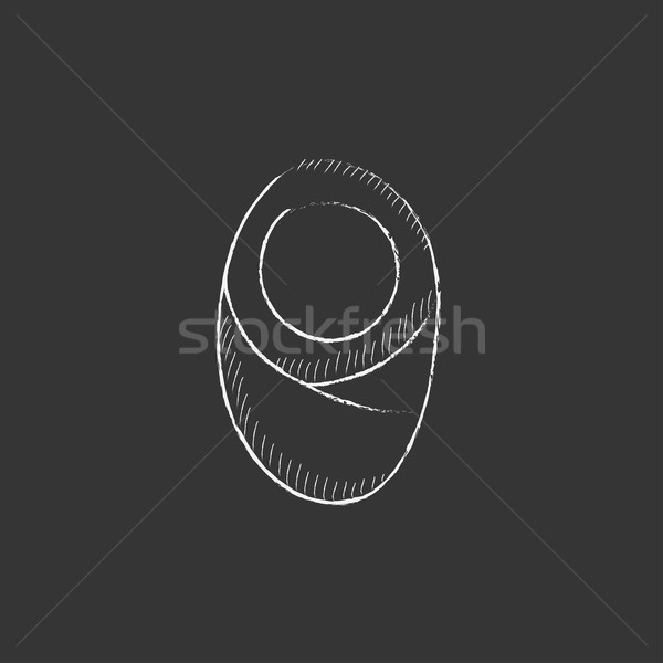 Infant wrapped in swaddling clothes. Drawn in chalk icon. Stock photo © RAStudio
