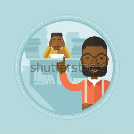 Man vergadering bank afstandsbediening vector ontwerp Stockfoto © RAStudio