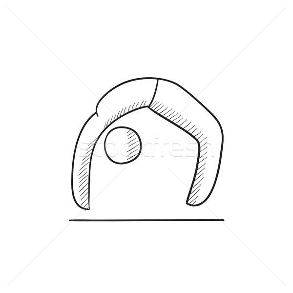 Man practicing yoga sketch icon. Stock photo © RAStudio