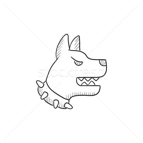 Aggressivo polizia cane sketch icona vettore Foto d'archivio © RAStudio