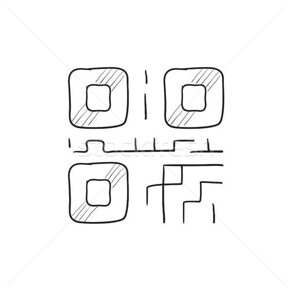Qr code schets icon vector geïsoleerd Stockfoto © RAStudio