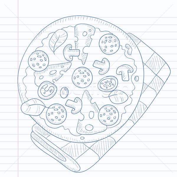 Délicieux pizza salami champignons olives dessinés à la main Photo stock © RAStudio