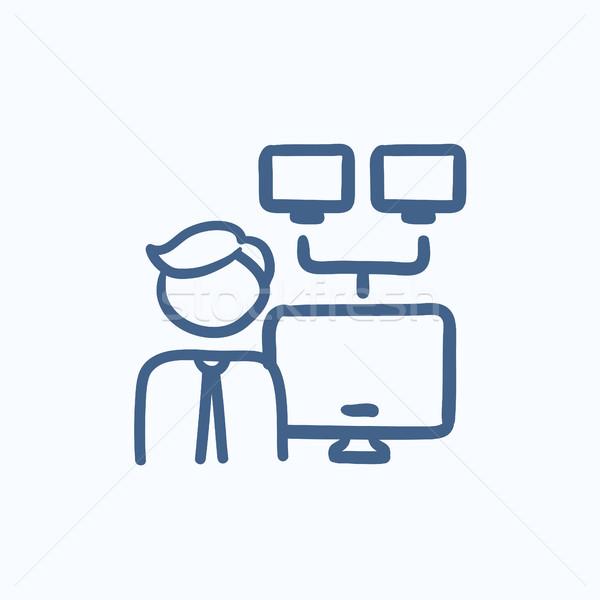 Netwerk beheerder schets icon vector geïsoleerd Stockfoto © RAStudio