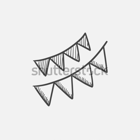 Christmas triangular flags sketch icon. Stock photo © RAStudio