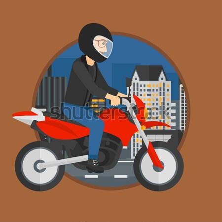 Man riding motorcycle vector illustration. Stock photo © RAStudio